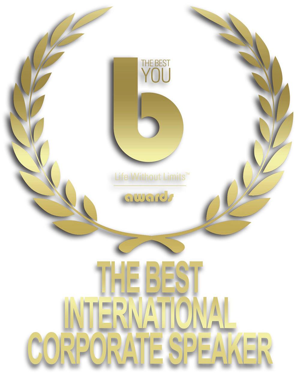 Logo for The Best International Corporate Speaker award at The Best You awards