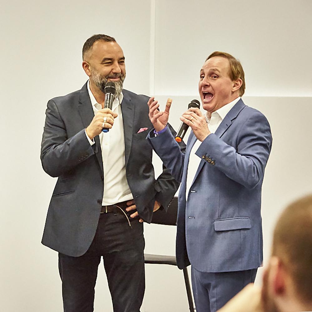 Conf host sq Paul Boross with Bernardo Moya TBY 2018